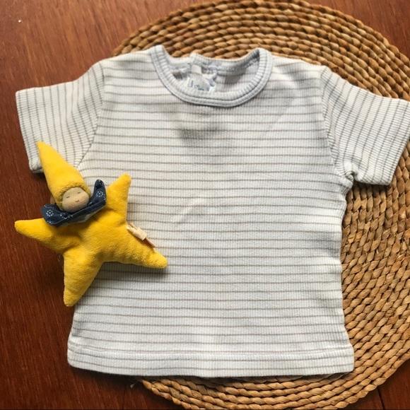 Petit Bateau pale blue stripe shirt 6-9M